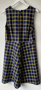 Sleeveless check A-line 1970s shift dress S/M
