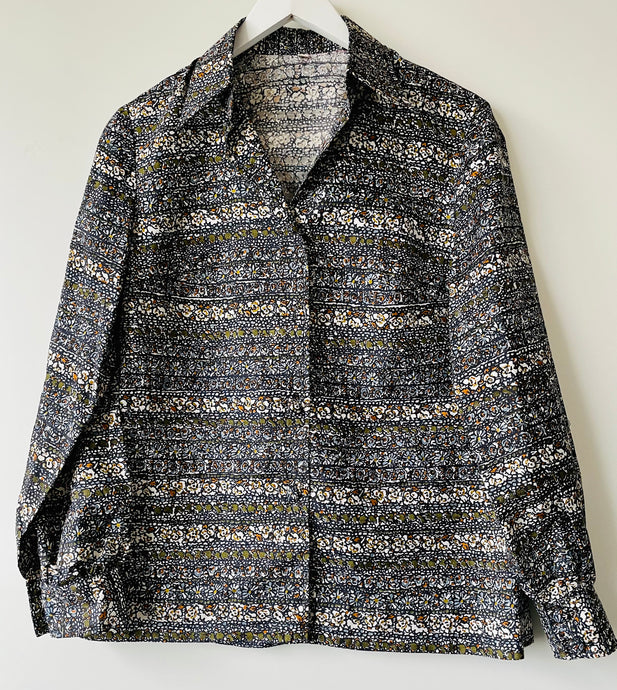1960s patterned blouse M