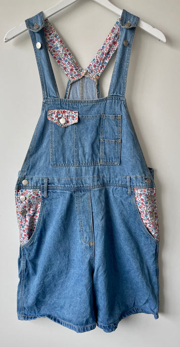 1990s blue denim shirt dungarees L