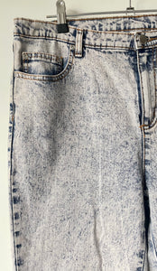 1990s acid wash high waist stretch cotton vintage jeans L