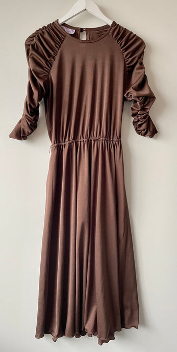 1970s vintage brown knee length dress S