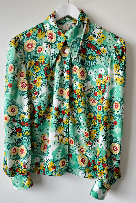 1989s green flower blouse M