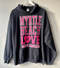 Load image into Gallery viewer, Black and pink hoodie XL