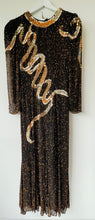Load image into Gallery viewer, 1980s black and gold sequin long dress XS
