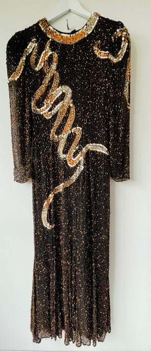 1980s black and gold sequin long dress XS