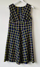 Load image into Gallery viewer, Sleeveless short 1970s blue and yellow check dress S/M