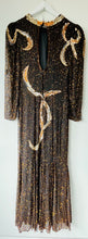 Load image into Gallery viewer, Stunning black/brown and gold long bead and sequin silk 1980s dress XS/S