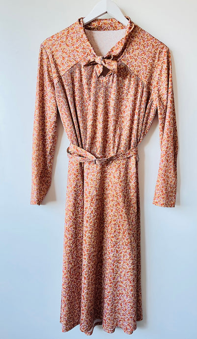 2970s long sleeve nylon dress L