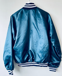 Petrol blue vintage baseball style quilted American bomber jacket M
