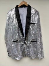 Load image into Gallery viewer, Silver sequin smoking jacket