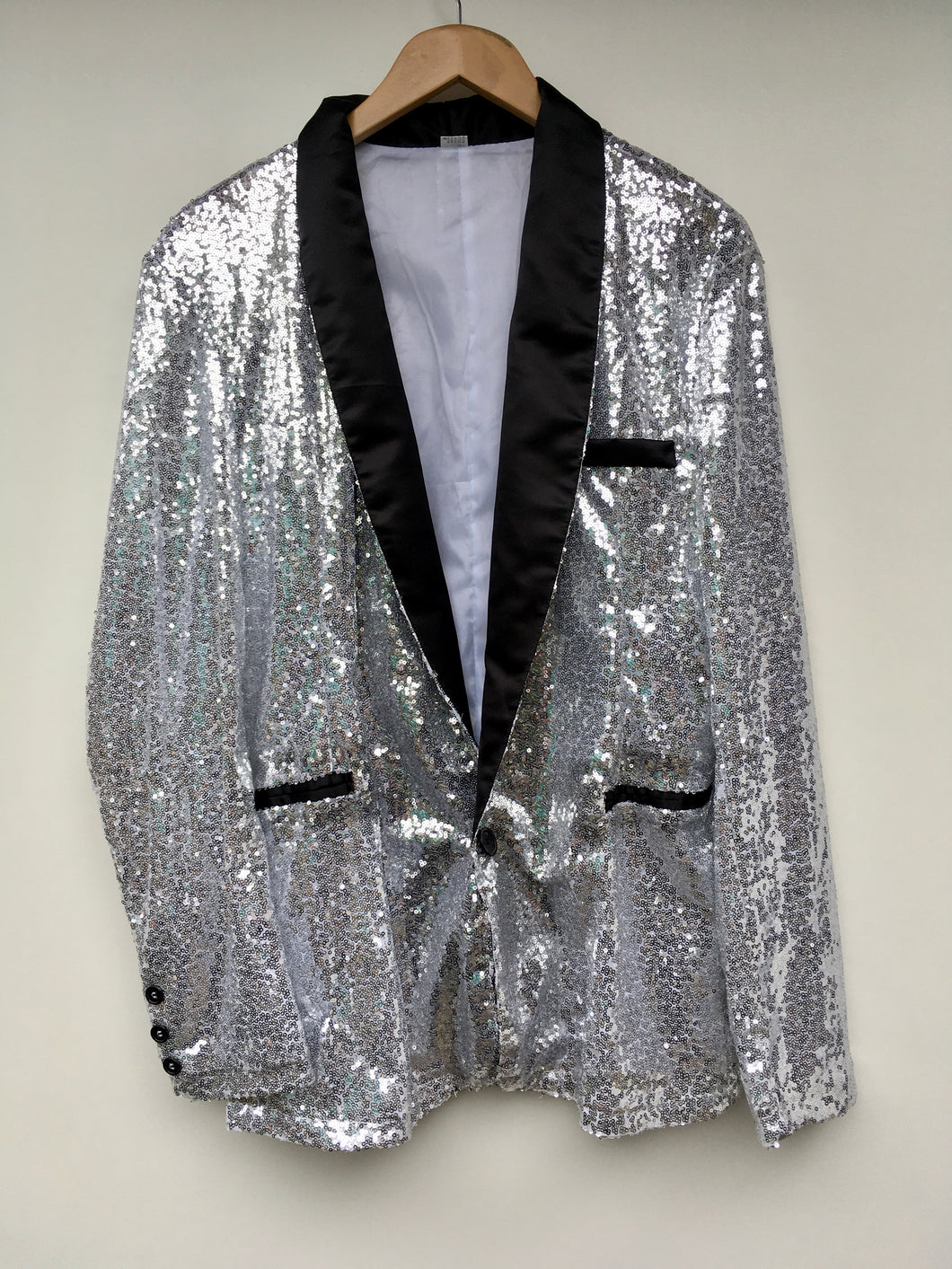 Silver sequin smoking jacket