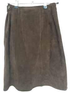 60's original brown suede skirt XS