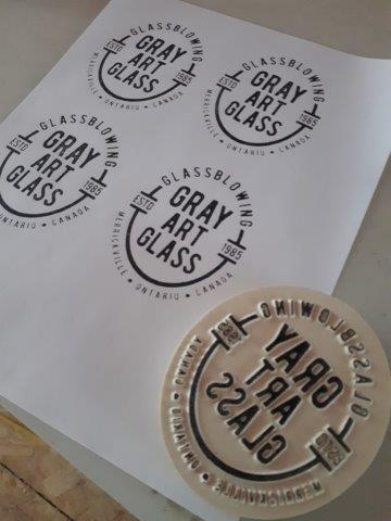 Custom Lino Stamp for Gray Art Glass