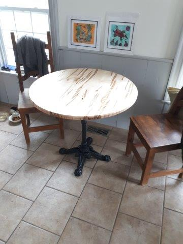 Round Ambrosia Maple Kitchen Table