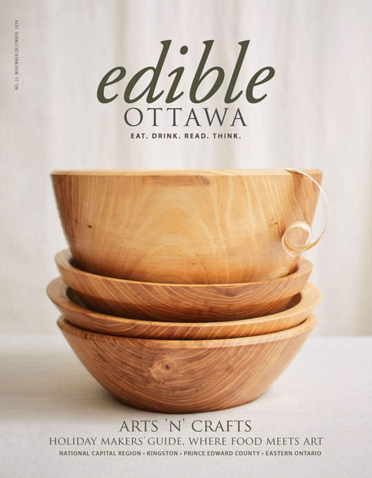 Front cover and article in Edible Ottawa