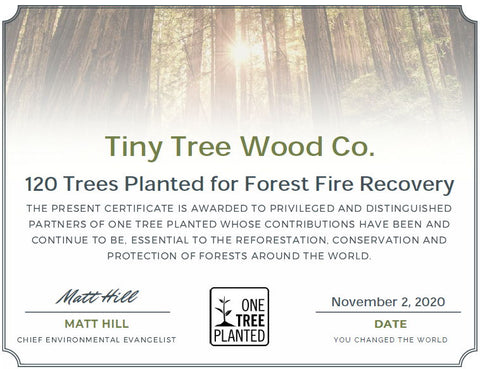 120 Tiny Trees Planted - Tiny Tree Wood Co