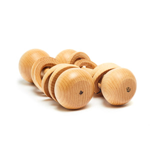 Prespective view of 2 wooden baby rattle side by side