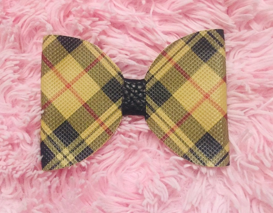 Plaid mustard bow