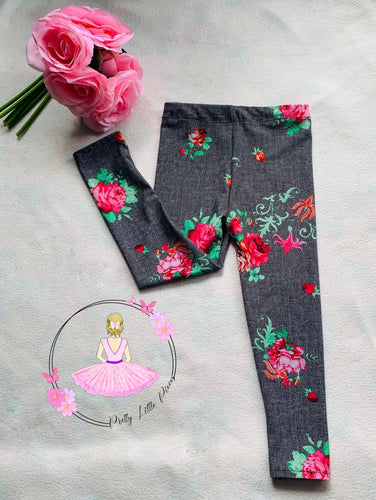 denim look leggings with roses