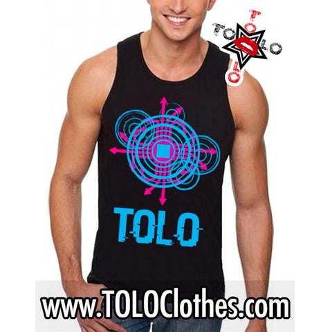 Men's Black Tolo Glitch   Tank Top