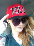Red Tolo Glitch Snapback Hat