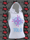 Hooded TOLO Glitch Tank - White