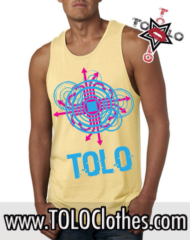 Men's  Yellow Glitch Tolo Tank Tops