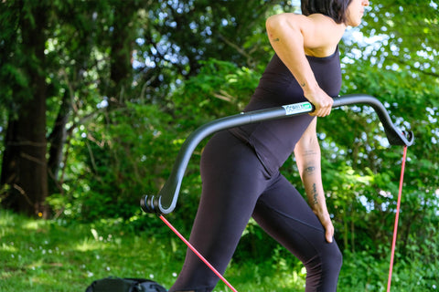 Woman Using Gorilla Bow for Bent Over Row
