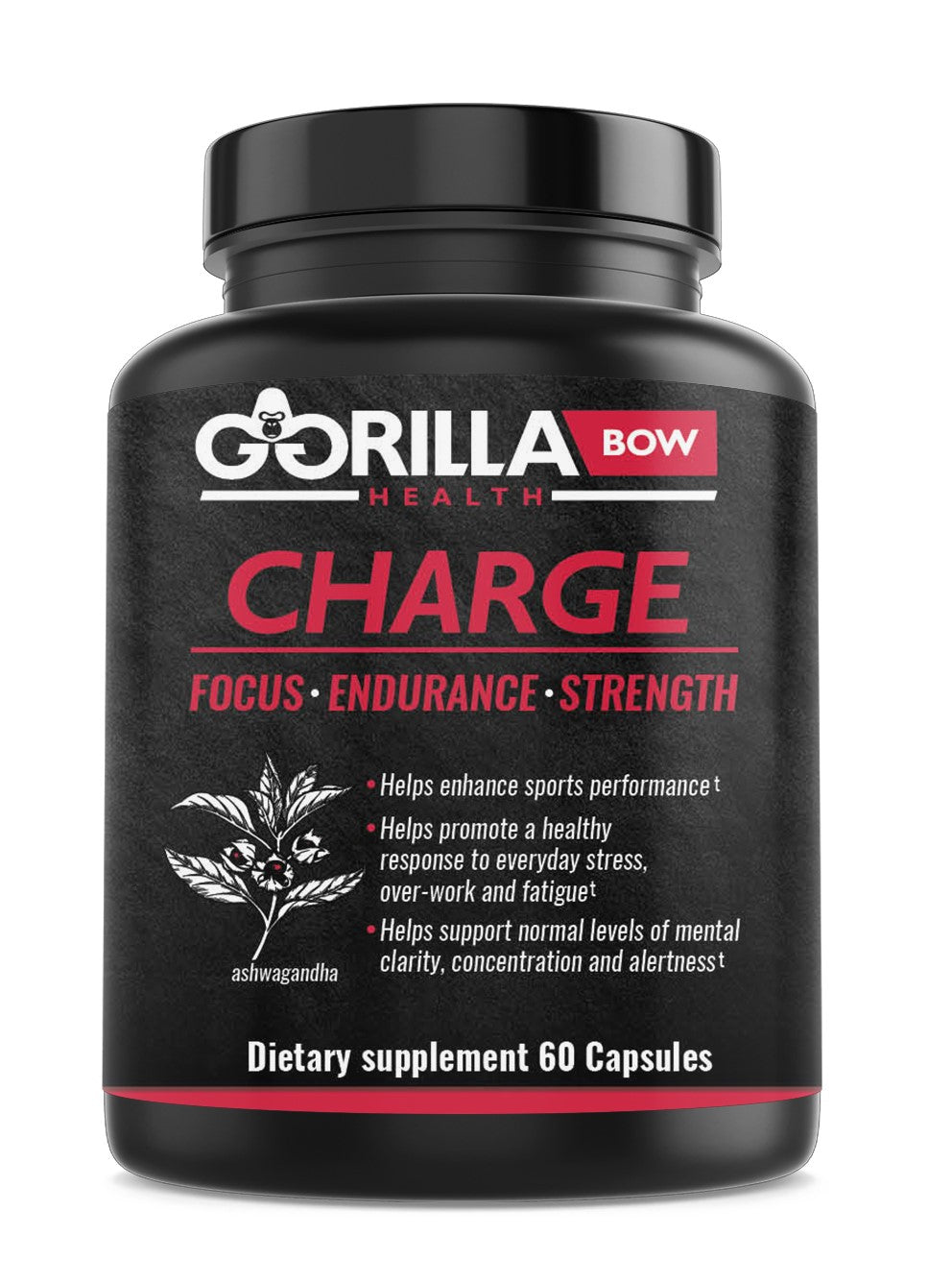 Gorilla Charge pre-workout supplement with Ashwagandha root extract and tart cherry powder