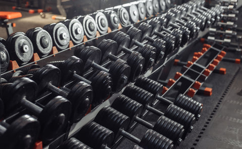 rack full of free weights