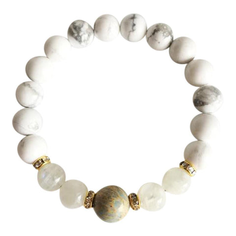 Aqua Terra Jasper, Moonstone and White Howlite Gold Plated Bracelet