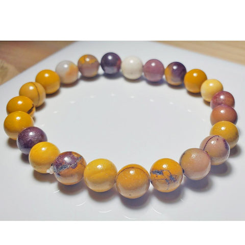 8mm Australian Jasper Mookaite Beaded Elastic Stretch Bracelet
