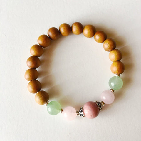 Sandalwood, Aventurine, Rose Quartz & Rhodonite