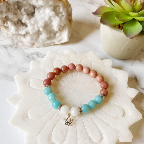 Amazonite, Moonstone & Rhodonite Bracelet