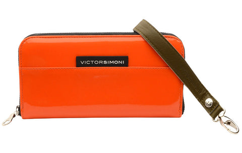 VictorSimoni bright orange high gloss wallet clutch