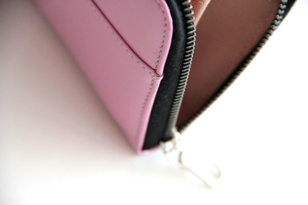 VictorSimoni Lavender Wallet Clutch features Black metallic zippers, imported from Switzerland