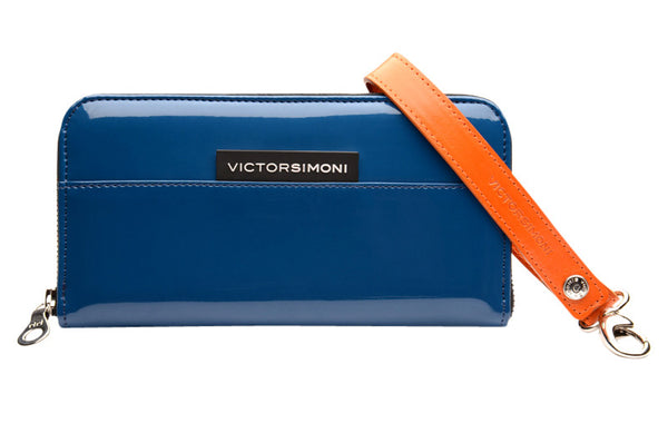 VictorSimoni deep blue wallet clutch in high gloss finish.