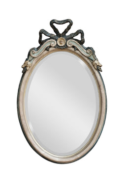 BOW TOP OVAL MIRROR SILVER LEAF