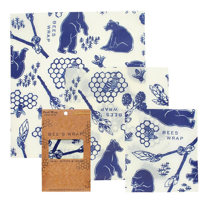 Bear & Bees Print Bees Wrap - Assorted 3 Pack - MindfulGoods