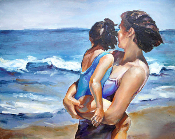 mother and child ocean seascape painting