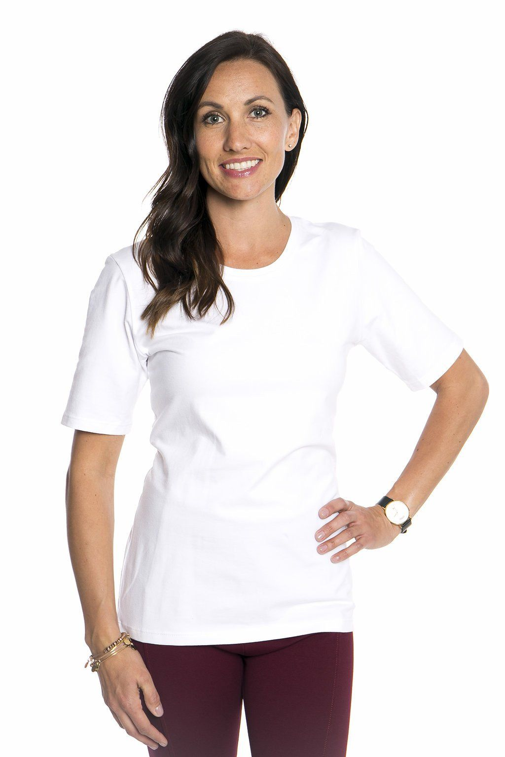 Scoop Neck 1/2 Sleeve w/o Cuff* - White - S-L