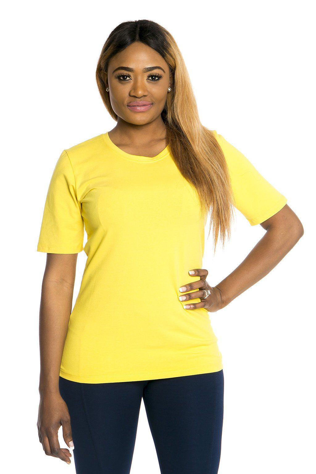 Scoop Neck 1/2 Sleeve w/o Cuff - Marigold Yellow - M only