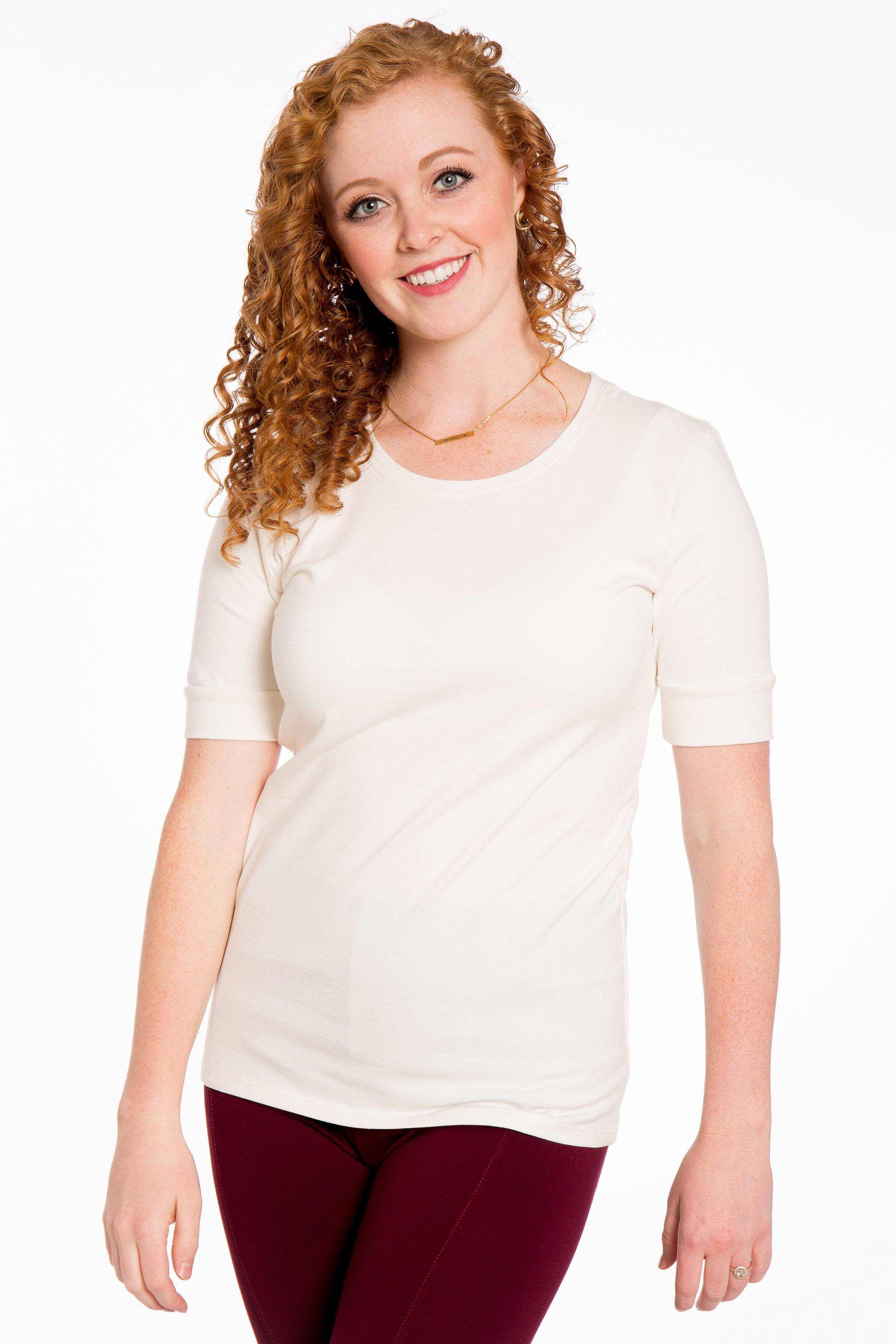 Basic Scoop Neck 1/2 Sleeve Shirt