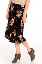Black Floral A-Line Skirt. S-2XL