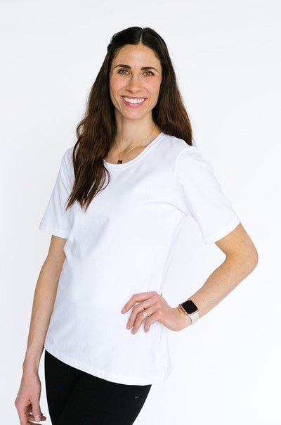 White Scoop Neck 1/2 Sleeve w/o Cuff