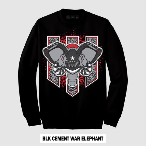 BLACK CEMENT WAR ELEPHANT (CREWNECK)