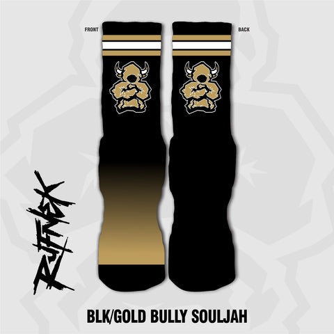 BLK/GOLD BULLY SOULJAH (SOCKS)