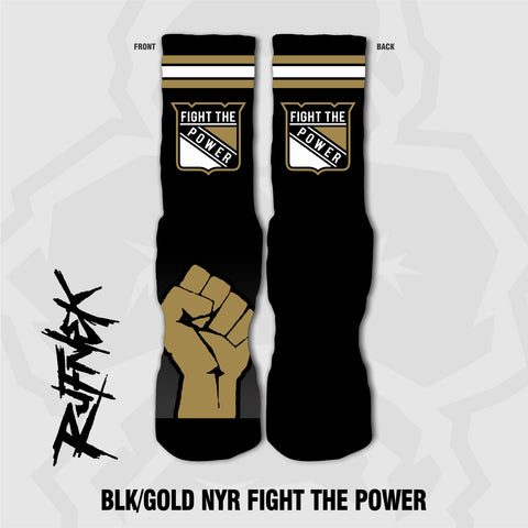 NYR (BLK/GOLD) FIGHT THE POWER (SOCKS)
