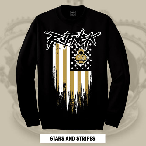 STARS AND STRIPES -GOLD- (BLACK CREWNECK)