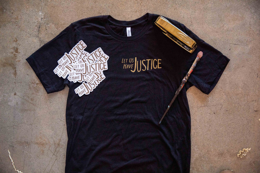 Let Us Have Justice - Heather Black Tee